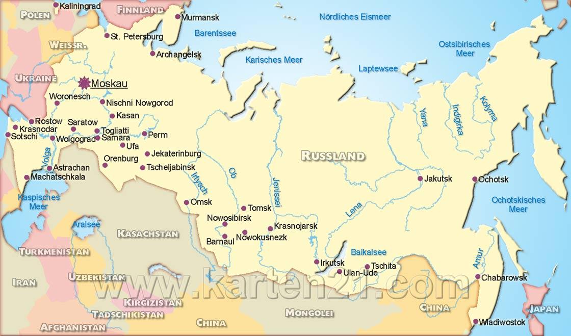 Russland landkarte (deutschsprachig)
