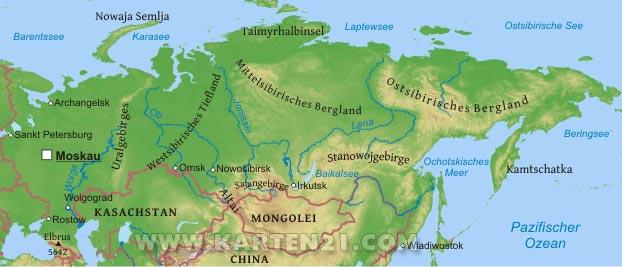 Physische karte von russland